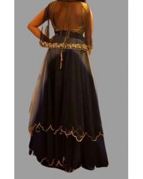 Black & Golden Heavy Georgette Premium Net Maxi Dress -Stitched