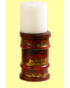 WOOD CANDLE HOLDER - MULTICOLOUR
