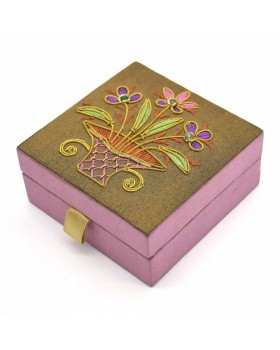 Floral Zardozi Embroidered Jewelry Box