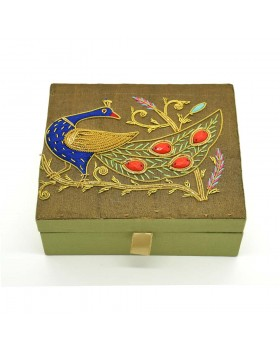 Zardozi Embroidered Peacock Jewelry Box