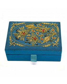 Beads Floral Turquoise Embroidered Jewelry Box