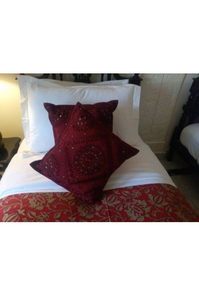 Red Cotton Embroidered Mirror Work Cushion Cover