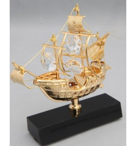 24K Gold Plated Santa Maria Sailing ship