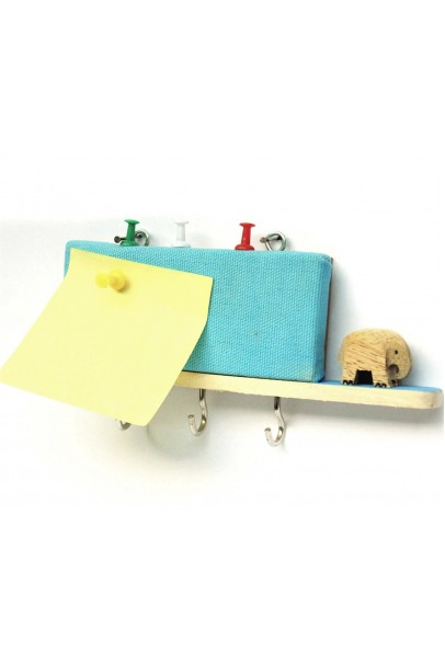 IVEI wooden key holders with a pin board - Blue elephant