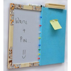 IVEI Pin board + whiteboard, Combination board - Hand painted chowk work