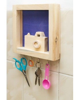 IVEI wood and Khadi combination camera key holder