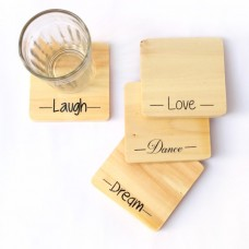 IVEI Screen printed motivational Wooden coasters(set of 4)