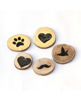 IVEI Circular Heart, Bird, paw, Moustache Wooden Magnets (set of 5)