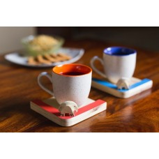 IVEI Wooden Elephant Mug Coasters (set of 2)