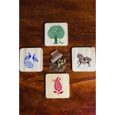 IVEI Sanjhi print wooden coasters set of 4