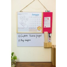 IVEI kids activity calendar with a whiteboard and pin board - pink