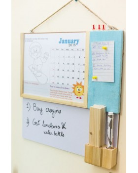 IVEI kids activity calendar with a whiteboard and pin board - blue