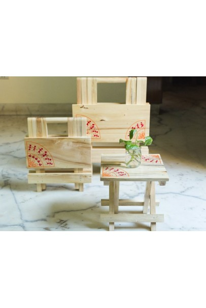 IVEI warli wooden portable folding table - small (9.5in)