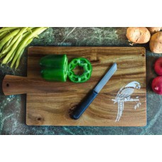 IVEI Mandala solid teak wood chopping board - parrot