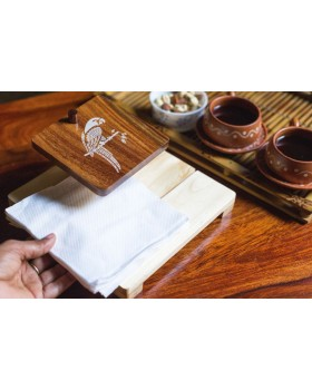 IVEI Mandala solid wood napkin holder - parrot