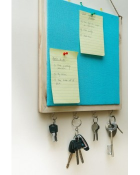 IVEI Wooden Pin board with key hooks - Blue