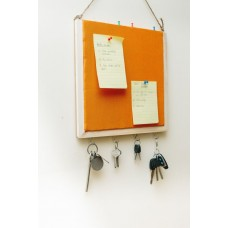 IVEI Wooden Pin board with key hooks - Orange