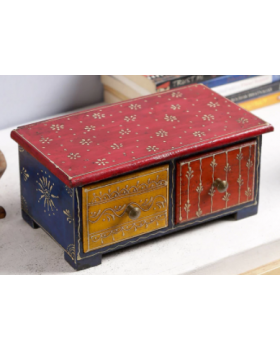 JODHPURI DECORATIVE WOODEN BOX WITH TWO DRAWERS
