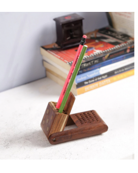Brown Solid Wood Pen Holder