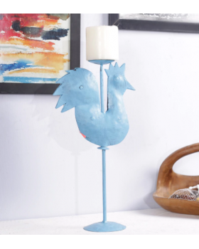 BIRD CANDLE STAND (BLUE)