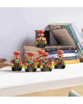 Multicolour Wood Figurines Set of 6