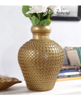 Gold Solid Wood Vase