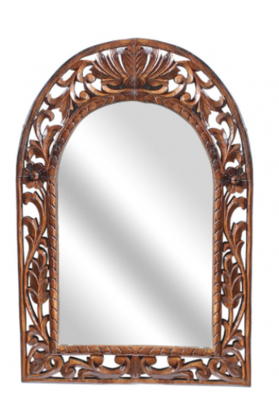 Brown Solid Wood Rajputana Jodhpuri Mirror