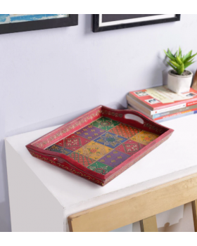 Multicolour Solid Wood Decorative Tray