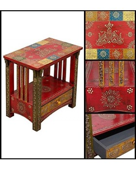 Hand Painted Side Table With 1 Drawer