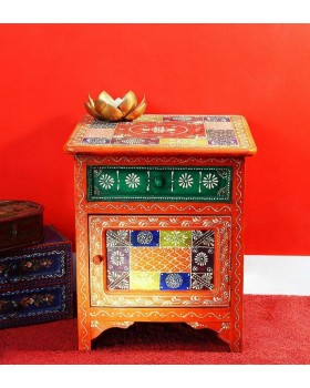 HAND PAINTED BED SIDE TABLE
