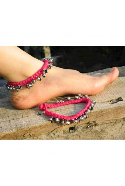 Alphabey's Tribal Style Pink Threaded Anklets with Oxidized Ghungroo for Women and Girls