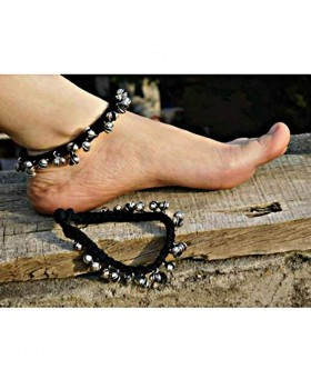Alphabey's Tribal Style Black Threaded Anklets with Oxidized Ghungroo for Women and Girls