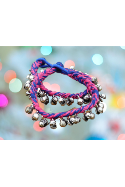 Alphabey's Tribal Style Multicolour Blue & Pink Threaded Anklets with Oxidized Ghungroo for Women and Girls