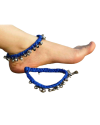Alphabey's Tribal Style Royal Blue Threaded Anklets with Oxidized Ghungroo for Women and Girls