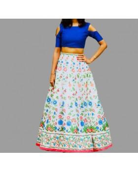 Royal Blue Slit Sleeve Top & Long White Floral Skirt