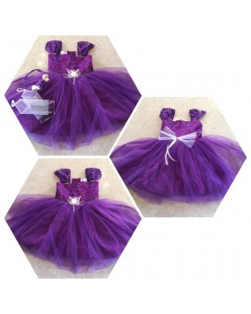Alphabey's Butterfly Sleeves Violet Net Frock Kids