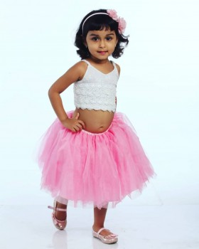 Alphabey's White Top & Mid Thigh Pink Net Skirt For Girls