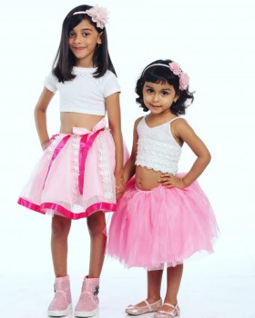 Alphabey's White Top & Mid Thigh Pink Net Skirt For Girls 02
