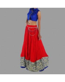 Blue Silk Blouse & Red Cotton Long Skirt For Women