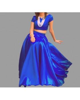 Royal Blue Silk Blouse & Long Skirt For Women