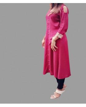 Stylish Pink Rayon Long Kurti for women