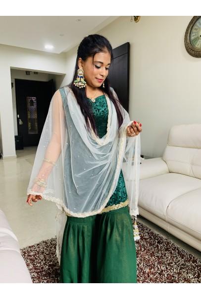 Green Karachi Velvet Kurti With Gharara For W