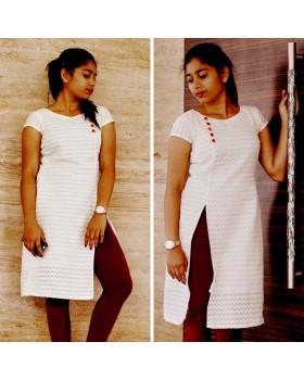 Stylish White Rayon Long Kurti for women