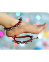 Alphabey's Tribal Style Maroon Threaded Anklets with Oxidized Ghungroo for Women and Girls