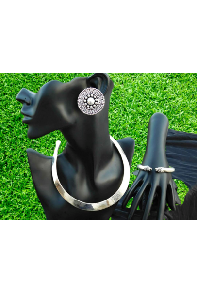 Alphabey's Tribal Bohemia Oxidised Silver  Choker Necklace for Women/Girls NK01