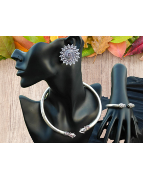 Alphabey's Tribal Bohemia Oxidised Silver  Choker Necklace for Women/Girls NK06