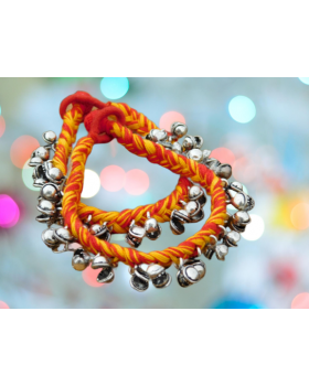 Alphabey's Tribal Style Multicolour Orange & Yellow Threaded Anklets with Oxidized Ghungroo for Women and Girls