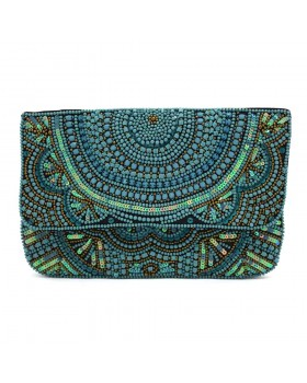 Turquoise Beaded Clutch