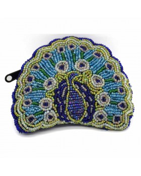 Multed Beaded Peacock Coin Purse