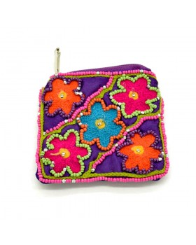 Beaded Floral Small Coin Purse